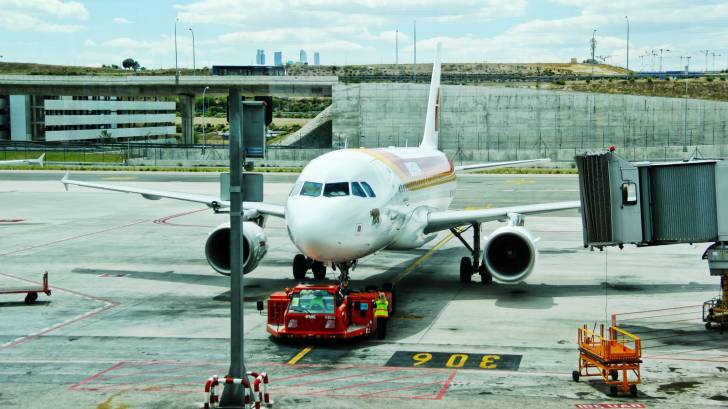 plane at an airport ready to depart