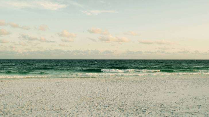beach with green ocean waves