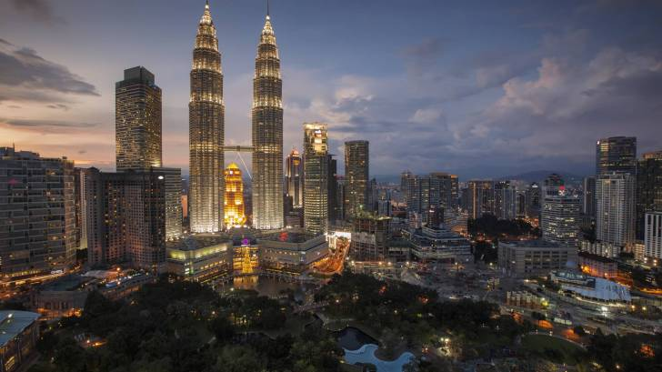 city lights on in Malaysia