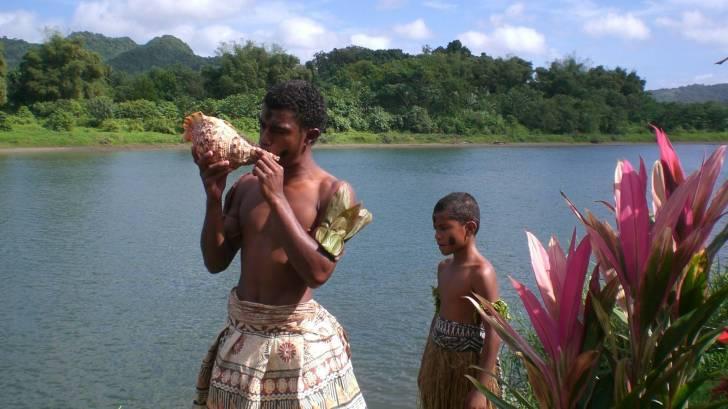 fiji beach and conch shells