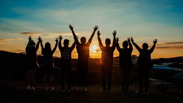 happy teens celebrating