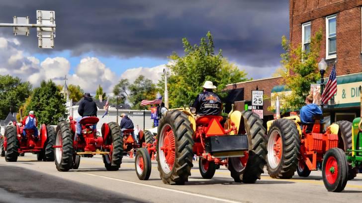 farm tractors in parade