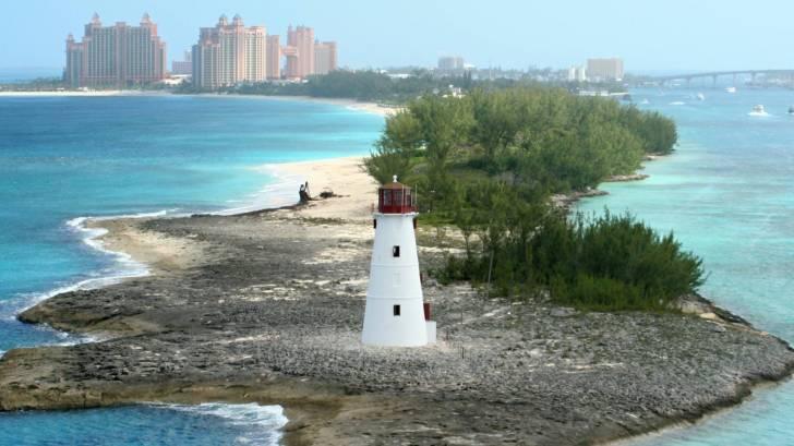 nassau bahamas lighthouse looking at hotels on the island