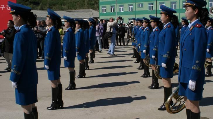 North Korea female militaary on parade