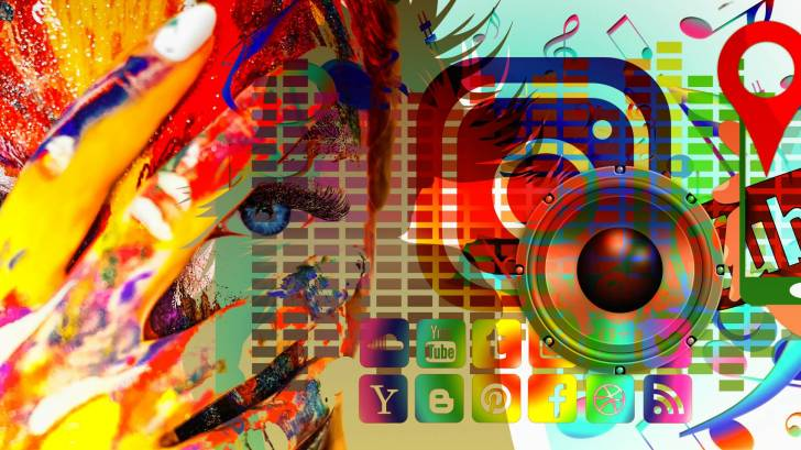 social media art work with a hand over the persons face