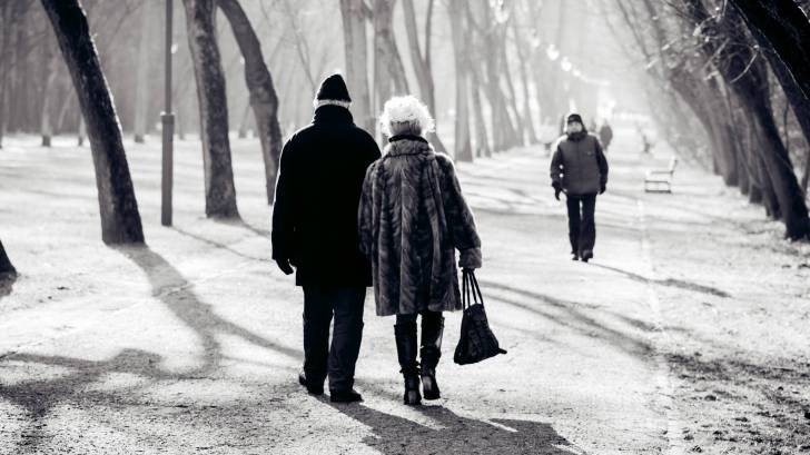 senior couple walking in the park on a cold day