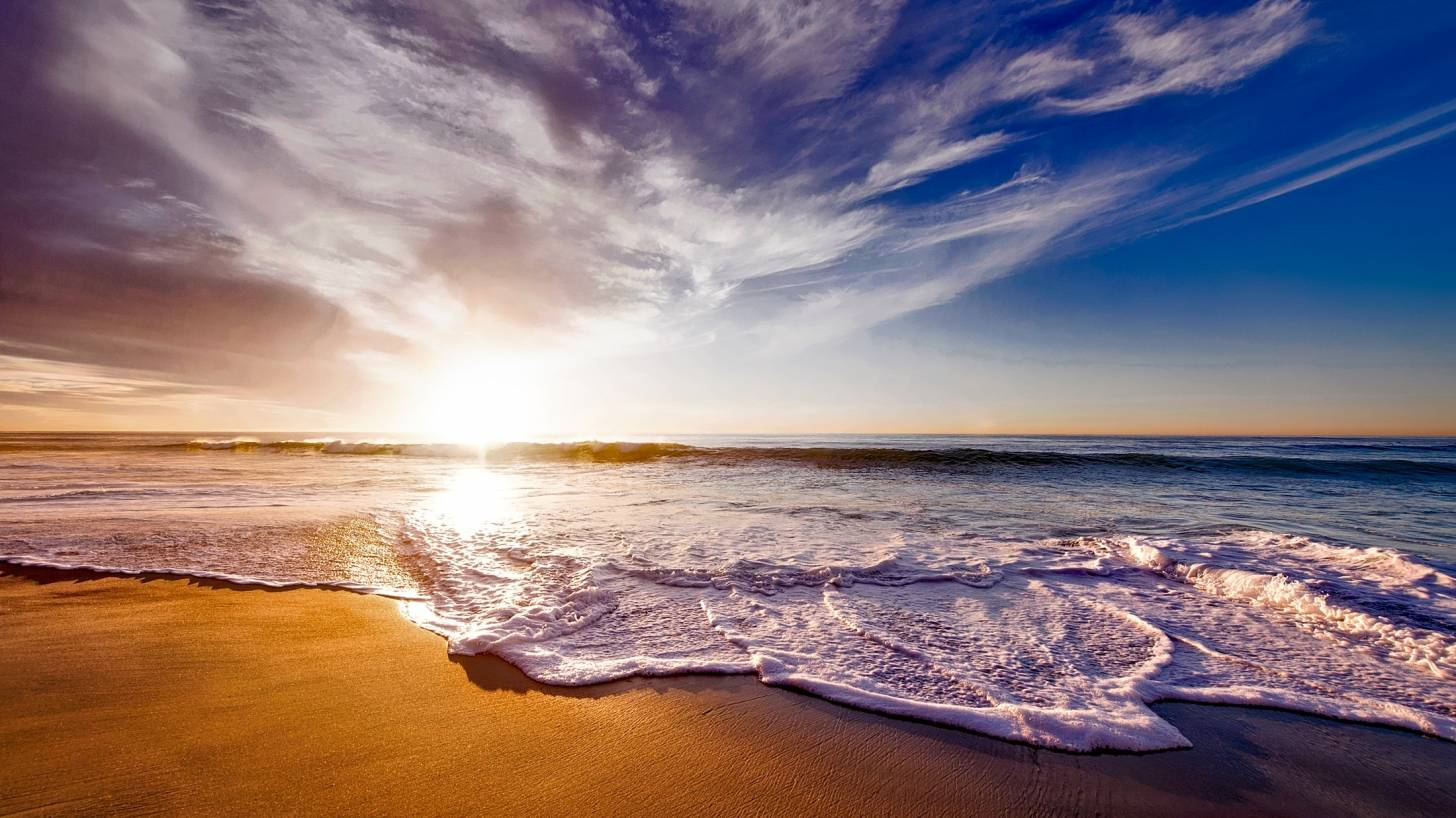 sunny california beach at sunset