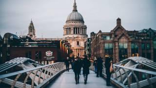 london city people on bridge