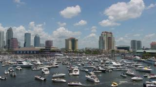 tampa bay filled with boats, looking towards the city skyline