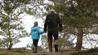 walking in the woods with Grandpa